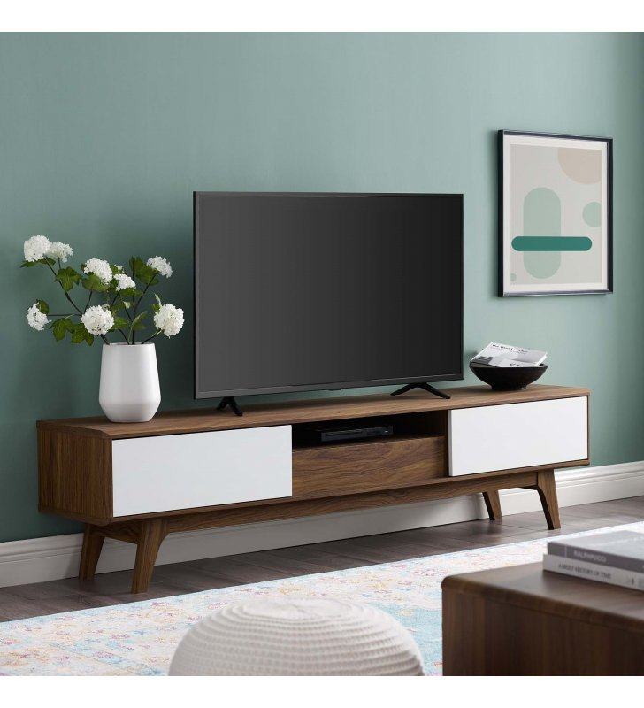 """Envision 70"""" Media Console Wood TV Stand in Walnut White - Lexmod"""