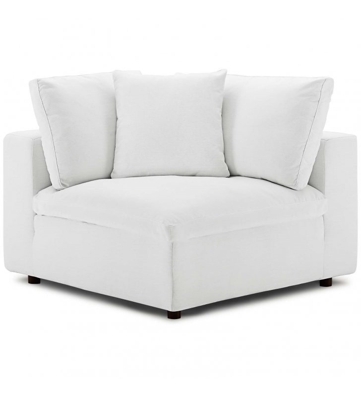 Commix Down Filled Overstuffed Corner Chair in White - Lexmod