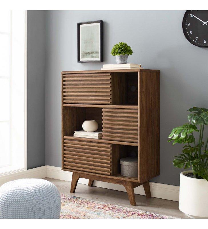 Render Three-Tier Display Storage Cabinet Stand in Walnut - Lexmod