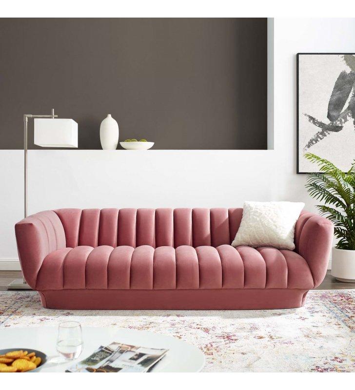Entertain Vertical Channel Tufted Performance Velvet Sofa in Dusty Rose - Lexmod