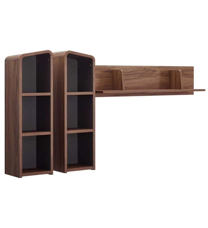Omnistand Wall Mounted Shelves in Walnut Gray - Lexmod