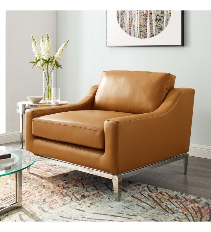 Harness Stainless Steel Base Leather Armchair in Tan - Lexmod
