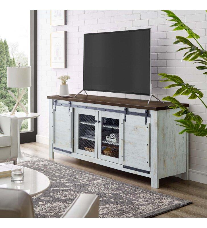 "Bennington 71"" Rustic Sliding Door TV Stand in White - Lexmod"
