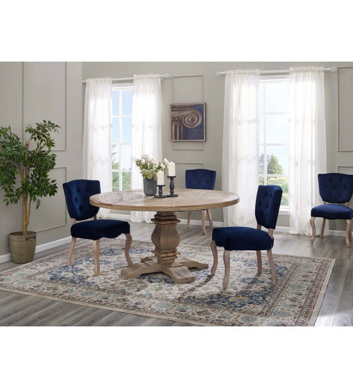 """Column 59"""" Round Pine Wood Dining Table in Brown - Lexmod"""