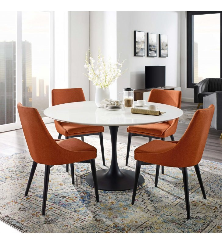 """Lippa 54"""" Round Wood Dining Table in Black White - Lexmod"""