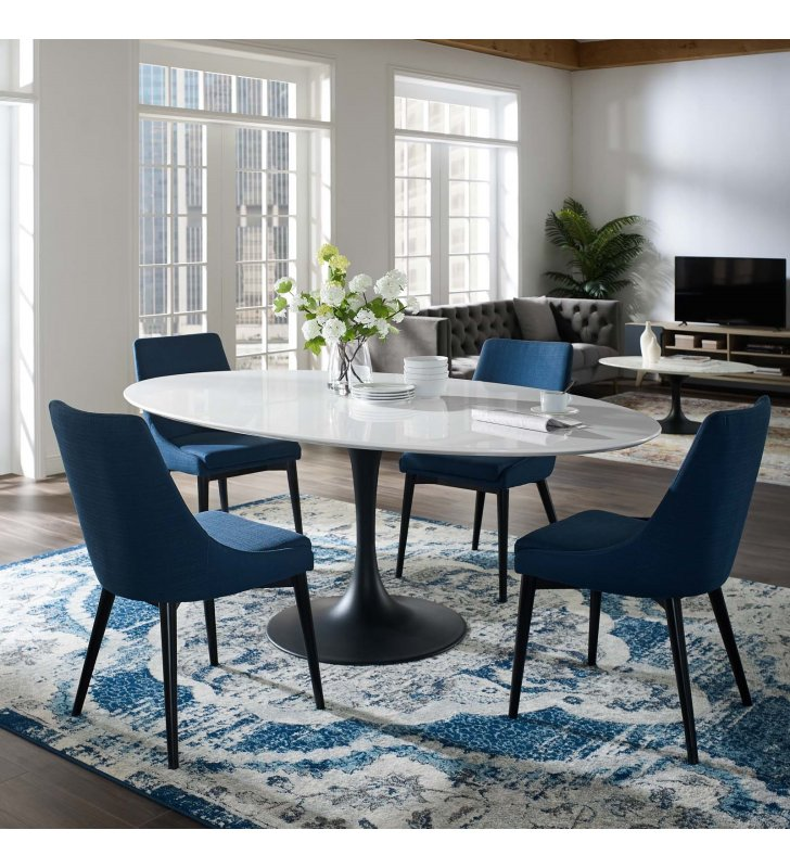 """Lippa 78"""" Oval Wood Dining Table in Black White - Lexmod"""