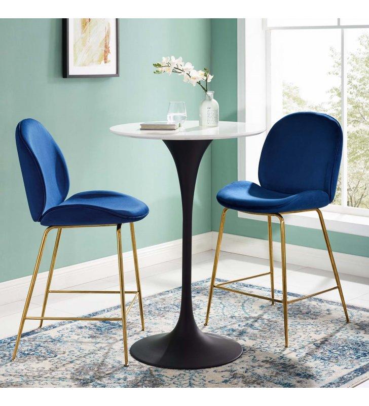 "Lippa 28"" Round Wood Bar Table in Black White - Lexmod"