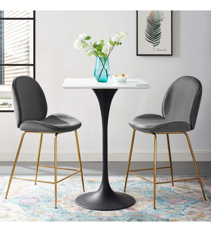"""Lippa 28"""" Square Wood Top Bar Table in Black White - Lexmod"""