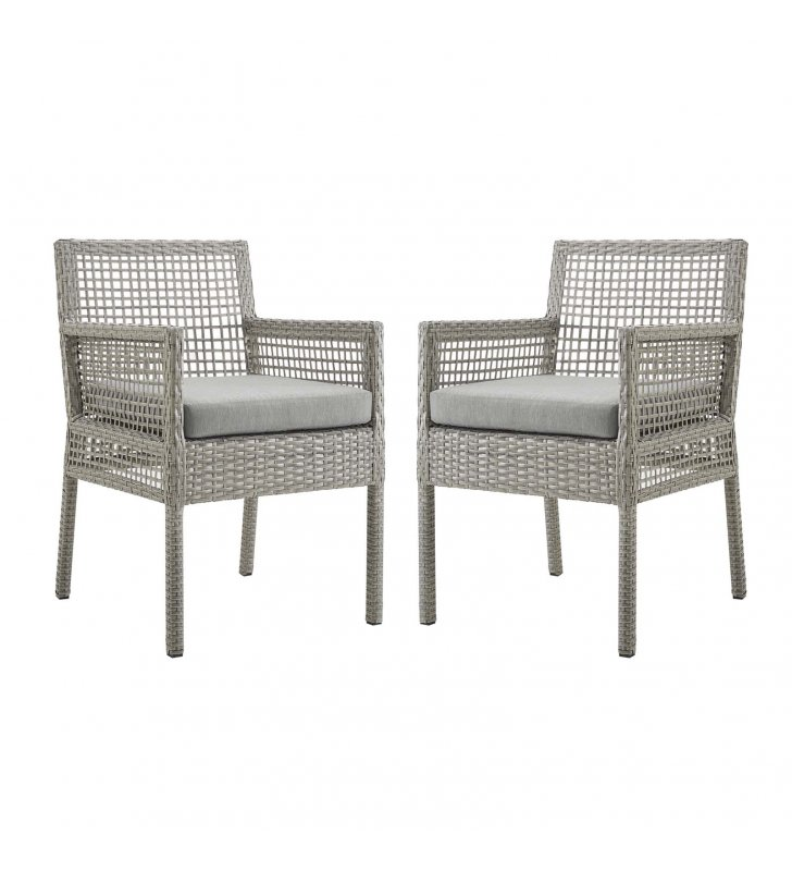 Aura Dining Armchair Outdoor Patio Wicker Rattan Set of 2 in Gray Gray - Lexmod
