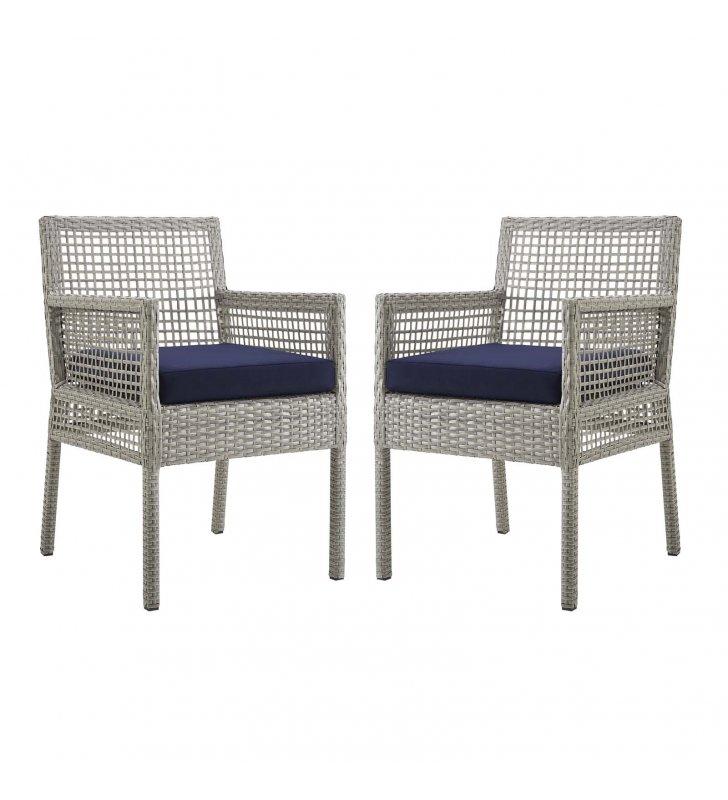 Aura Dining Armchair Outdoor Patio Wicker Rattan Set of 2 in Gray Navy - Lexmod