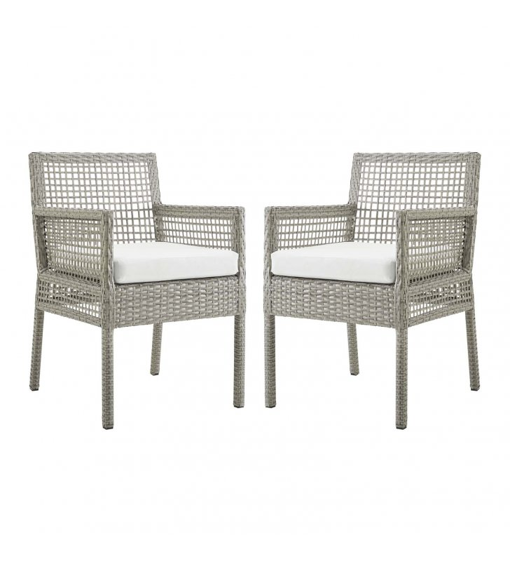 Aura Dining Armchair Outdoor Patio Wicker Rattan Set of 2 in Gray White - Lexmod