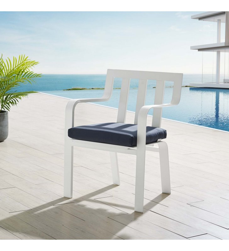 Baxley Stackable Outdoor Patio Aluminum Dining Armchair in White Navy - Lexmod
