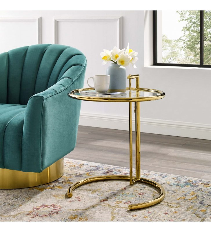 Eileen Gold Stainless Steel End Table in Gold - Lexmod