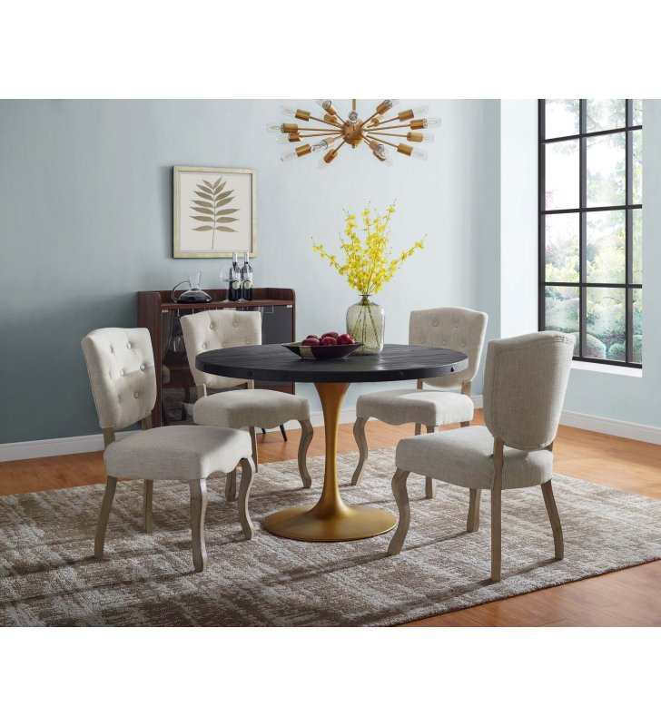 "Drive 48"" Round Wood Top Dining Table in Black Gold - Lexmod"