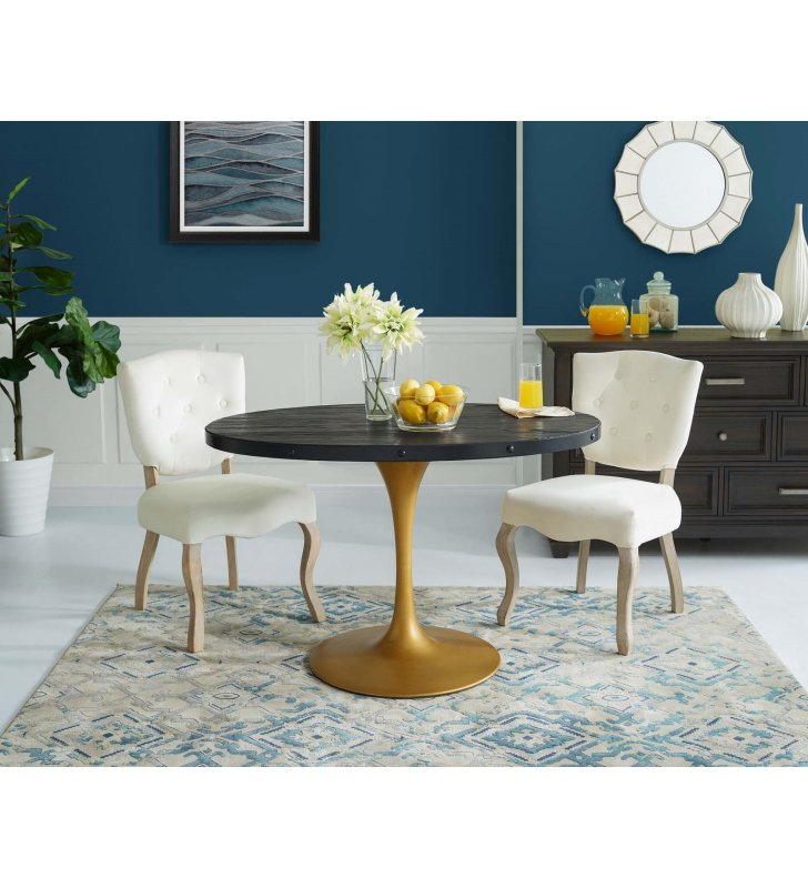 "Drive 47"" Oval Wood Top Dining Table in Black Gold - Lexmod"