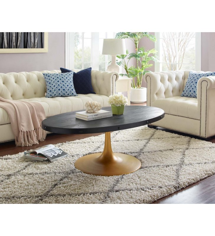 Drive Wood Top Coffee Table in Black Gold - Lexmod
