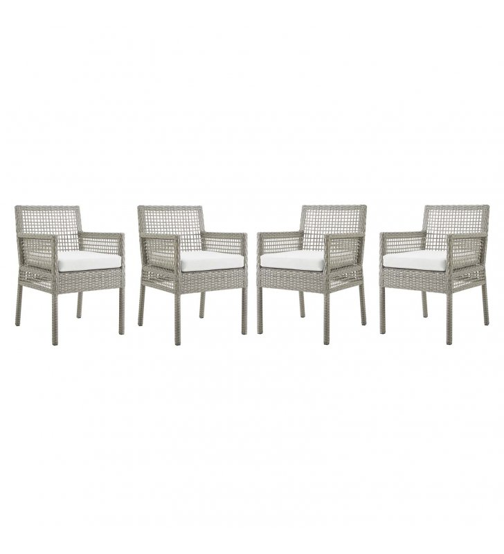 Aura Dining Armchair Outdoor Patio Wicker Rattan Set of 4 in Gray White - Lexmod