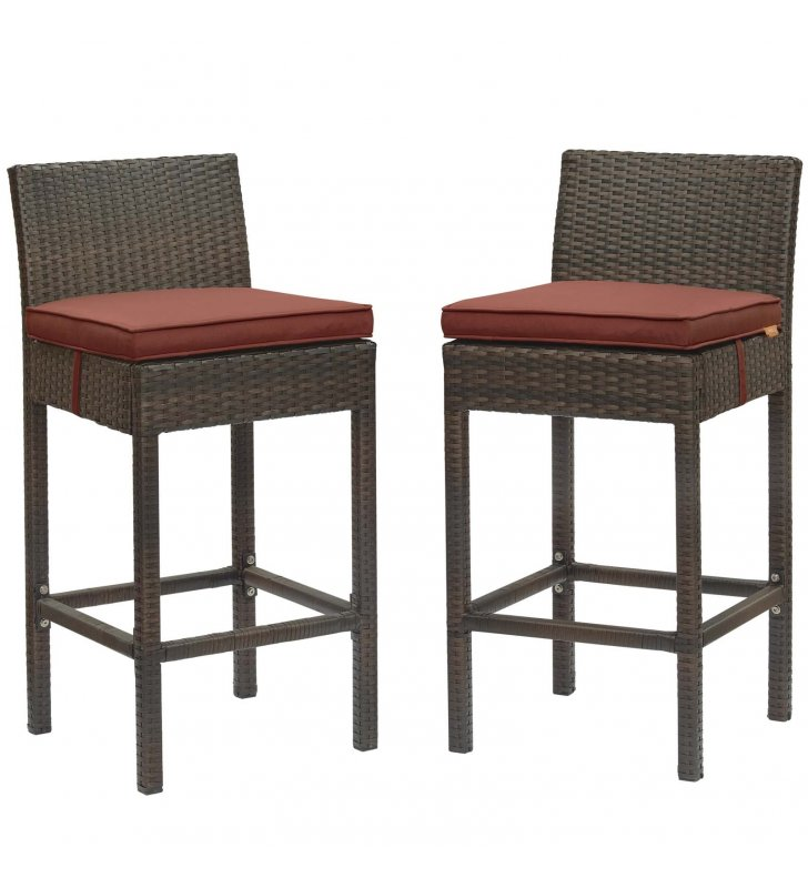 Conduit Bar Stool Outdoor Patio Wicker Rattan Set of 2 in Brown Currant - Lexmod