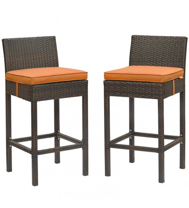 Conduit Bar Stool Outdoor Patio Wicker Rattan Set of 2 in Brown Orange - Lexmod