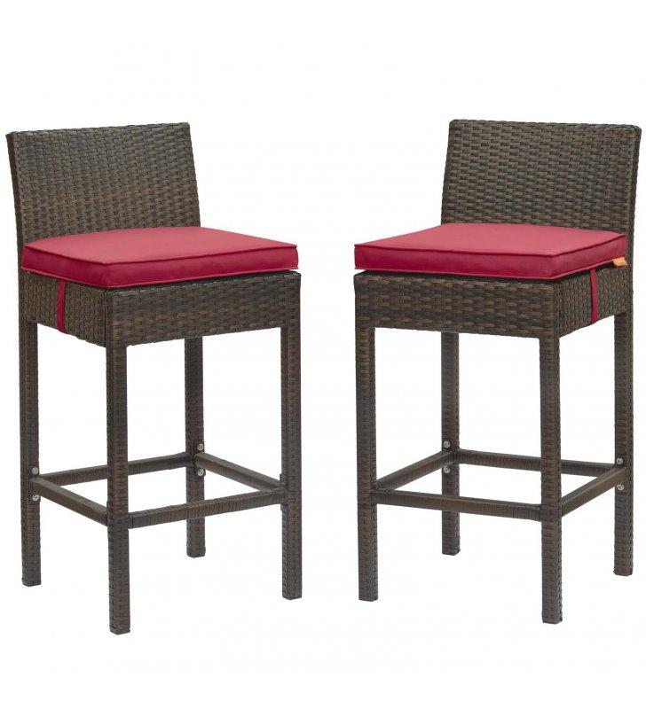 Conduit Bar Stool Outdoor Patio Wicker Rattan Set of 2 in Brown Red - Lexmod