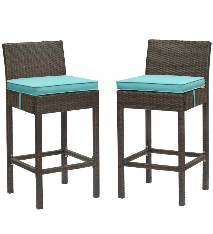 Conduit Bar Stool Outdoor Patio Wicker Rattan Set of 2 in Brown Turquoise - Lexmod