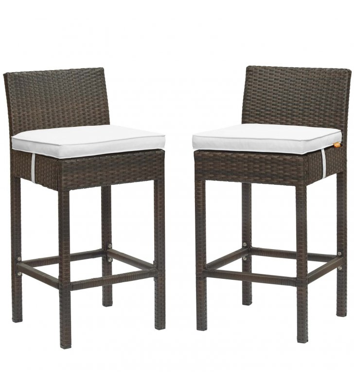 Conduit Bar Stool Outdoor Patio Wicker Rattan Set of 2 in Brown White - Lexmod