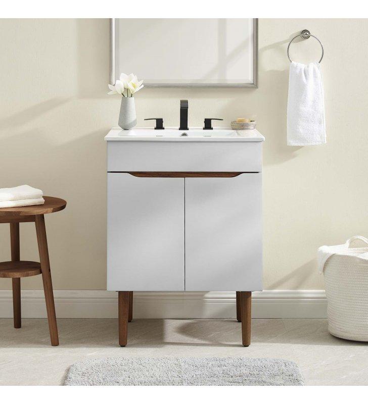 Harvest Bathroom Vanity in Gray White - Lexmod