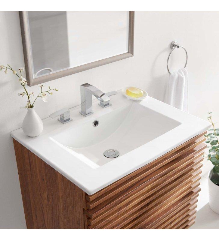 """Cayman 24"""" Bathroom Sink in White - Lexmod"""