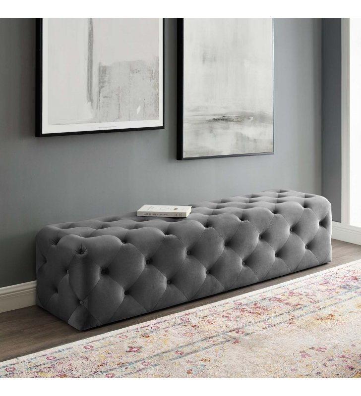 """Amour 72"""" Tufted Button Entryway Performance Velvet Bench in Gray - Lexmod"""