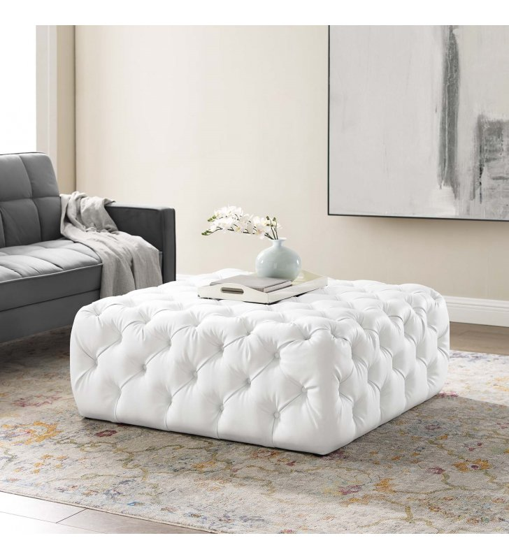 Amour Tufted Button Large Square Faux Leather Ottoman in White - Lexmod