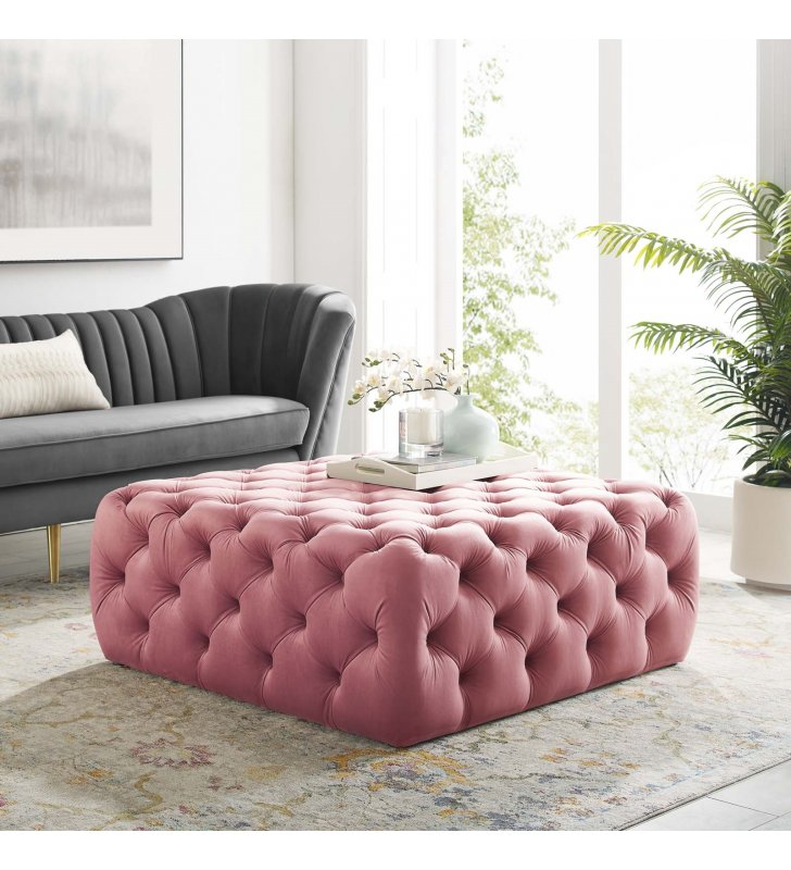 Amour Tufted Button Large Square Performance Velvet Ottoman in Dusty Rose - Lexmod