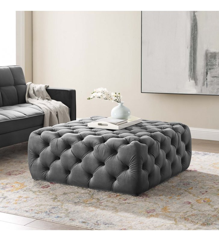 Amour Tufted Button Large Square Performance Velvet Ottoman in Gray - Lexmod