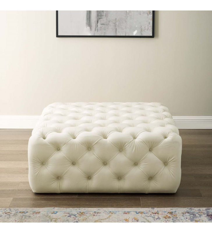 Amour Tufted Button Large Square Performance Velvet Ottoman in Ivory - Lexmod