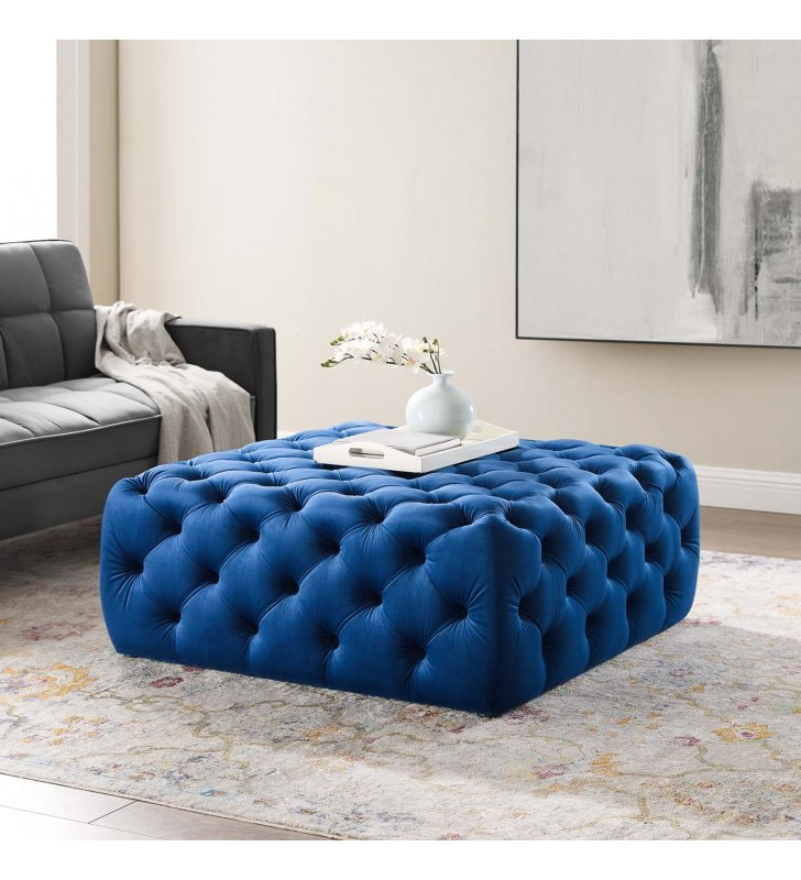 Amour Tufted Button Large Square Performance Velvet Ottoman in Navy - Lexmod
