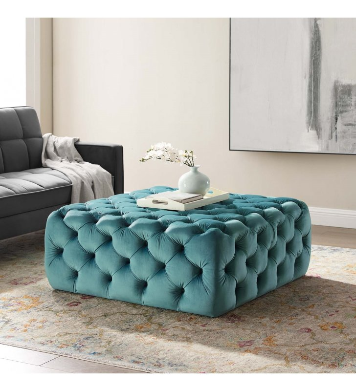 Amour Tufted Button Large Square Performance Velvet Ottoman in Sea Blue - Lexmod