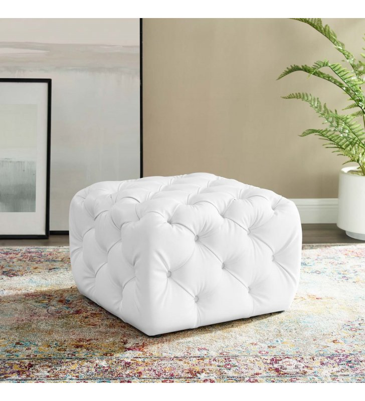 Amour Tufted Button Square Faux Leather Ottoman in White - Lexmod
