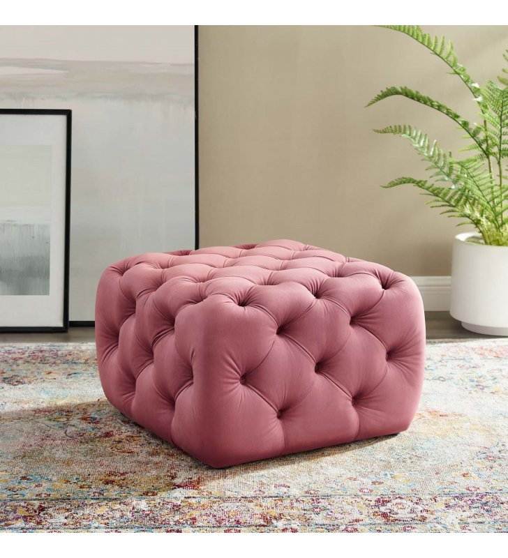 Amour Tufted Button Square Performance Velvet Ottoman in Dusty Rose - Lexmod