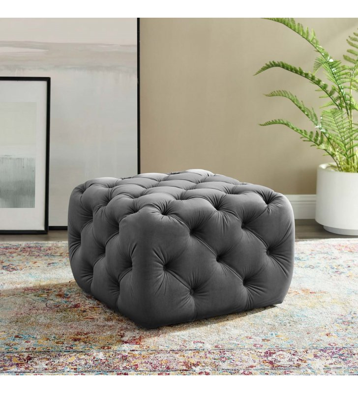 Amour Tufted Button Square Performance Velvet Ottoman in Gray - Lexmod