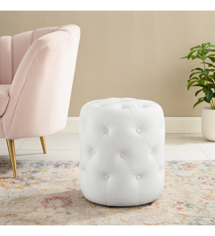 Amour Tufted Button Round Faux Leather Ottoman in White - Lexmod