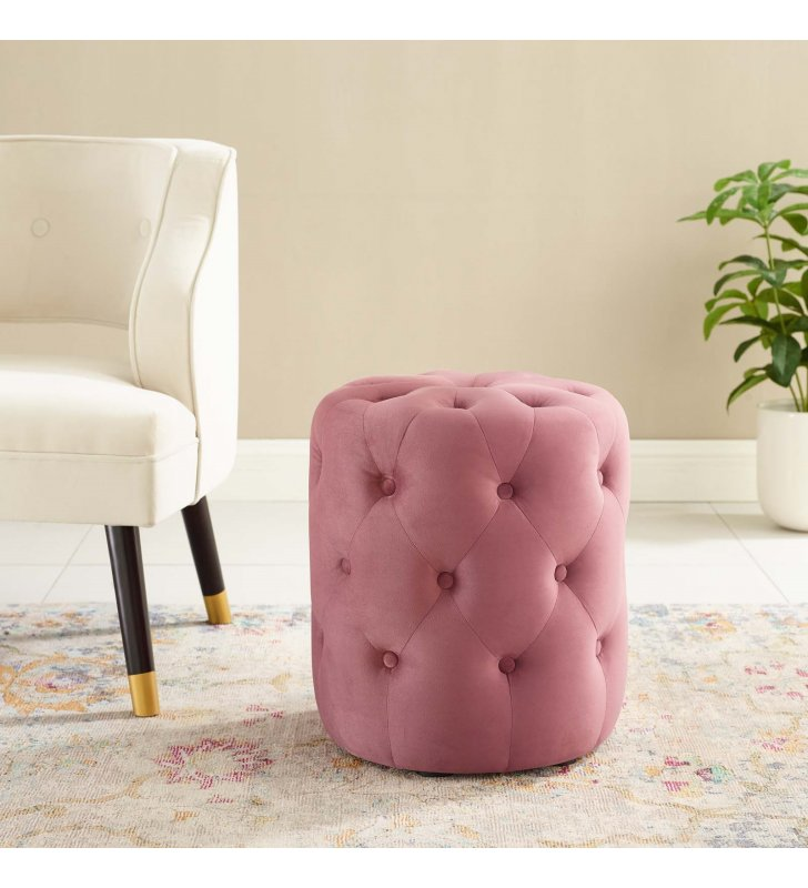 Amour Tufted Button Round Performance Velvet Ottoman in Dusty Rose - Lexmod