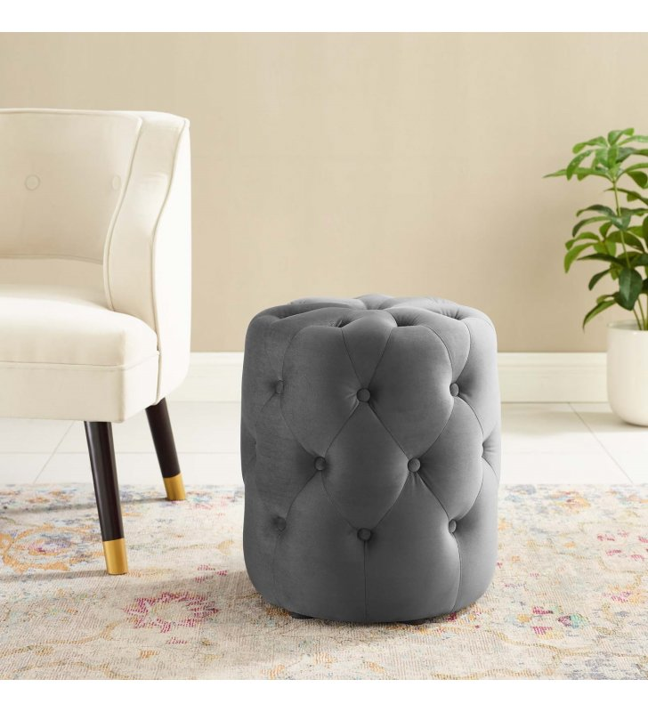 Amour Tufted Button Round Performance Velvet Ottoman in Gray - Lexmod