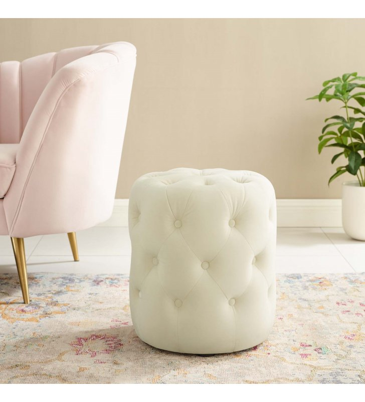 Amour Tufted Button Round Performance Velvet Ottoman in Ivory - Lexmod