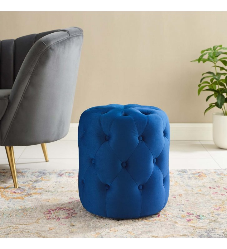 Amour Tufted Button Round Performance Velvet Ottoman in Navy - Lexmod