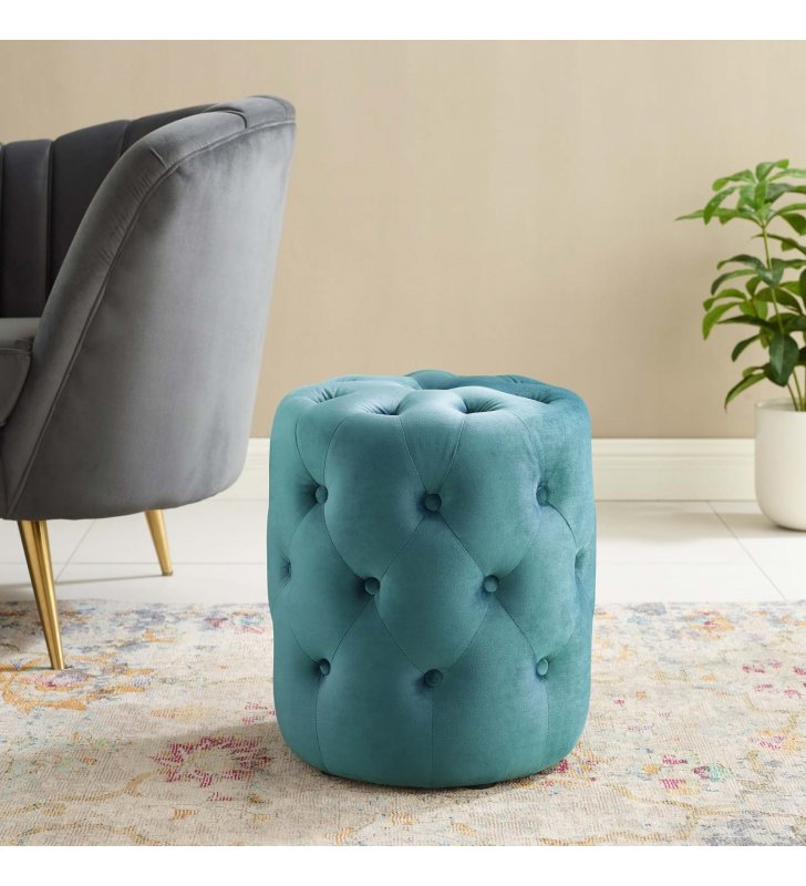 Amour Tufted Button Round Performance Velvet Ottoman in Sea Blue - Lexmod