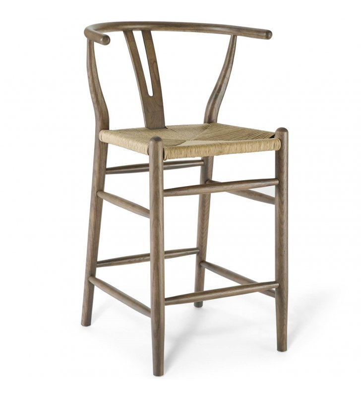 Amish Wood Counter Stool in Gray - Lexmod