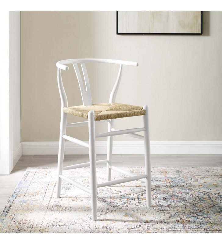 Amish Wood Counter Stool in White - Lexmod