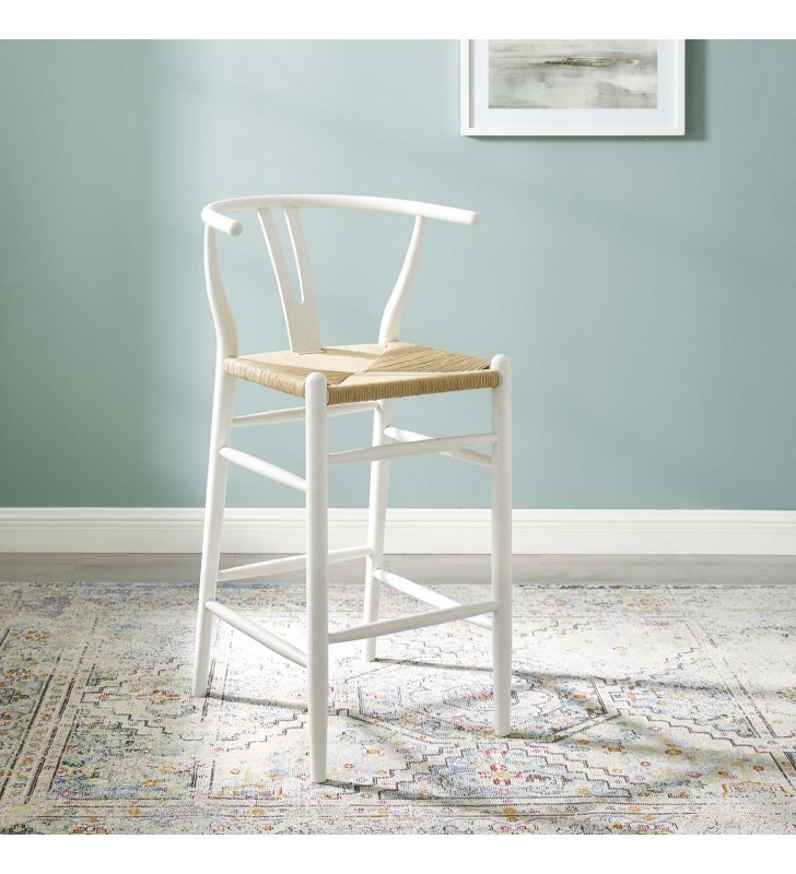 Amish Wood Bar Stool in White - Lexmod