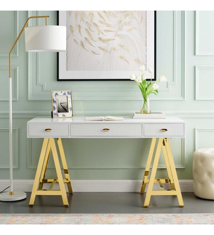 Jettison Office Desk in Gold White - Lexmod