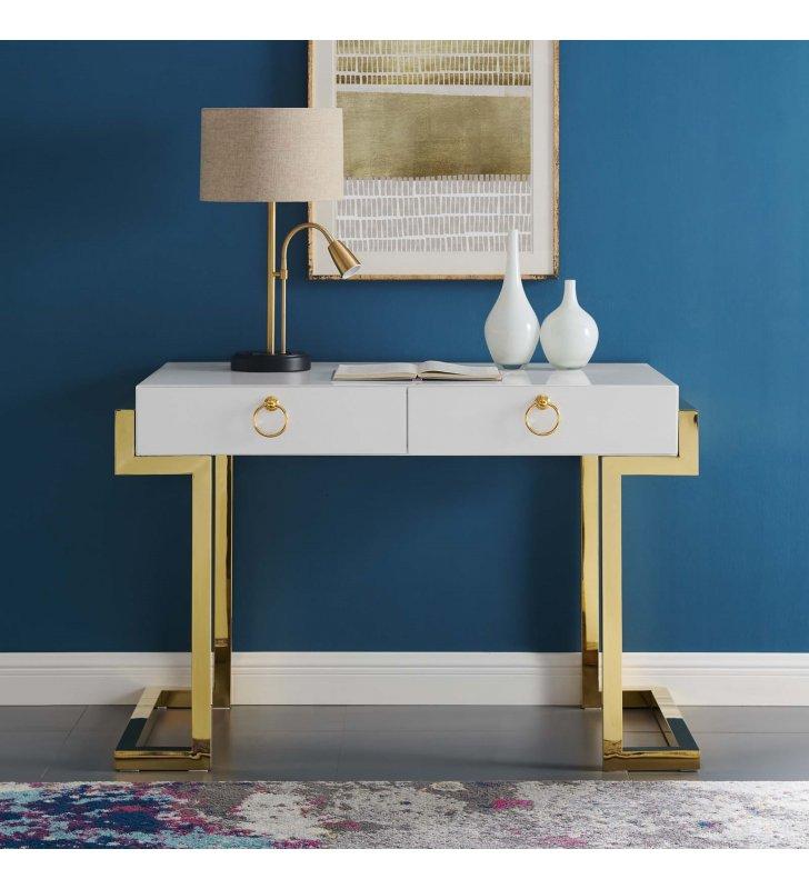 Ring Office Desk in Gold White - Lexmod