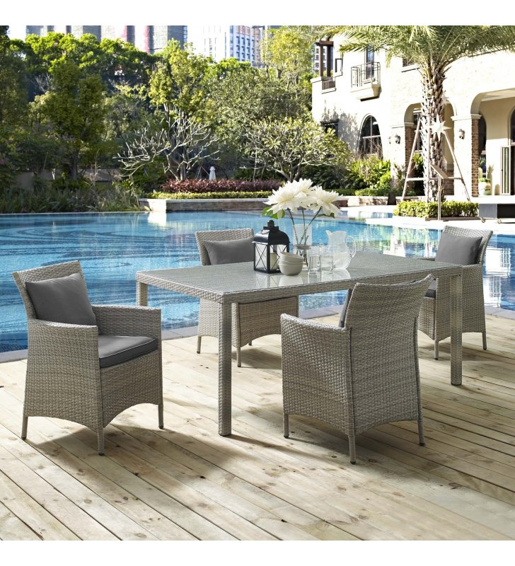 Conduit 5 Piece Outdoor Patio Wicker Rattan Dining Set in Light Gray Charcoal - Lexmod